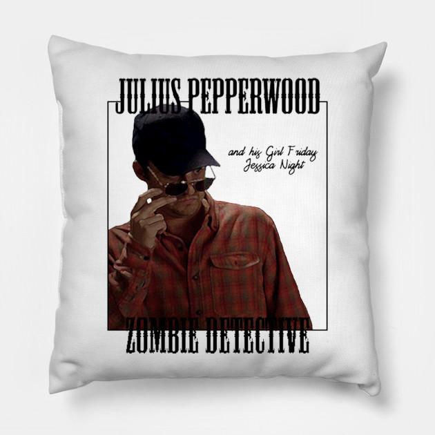 3d959d807 Julius Pepperwood, Zombie Detective - Nick Miller - Pillow   TeePublic