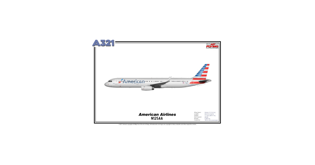 Airbus A321 - American Airlines (Art Print) by theartofflying