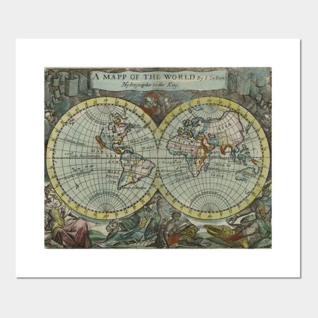Vintage map of the world 1682 world map posters and art prints 1891951 1 gumiabroncs Gallery