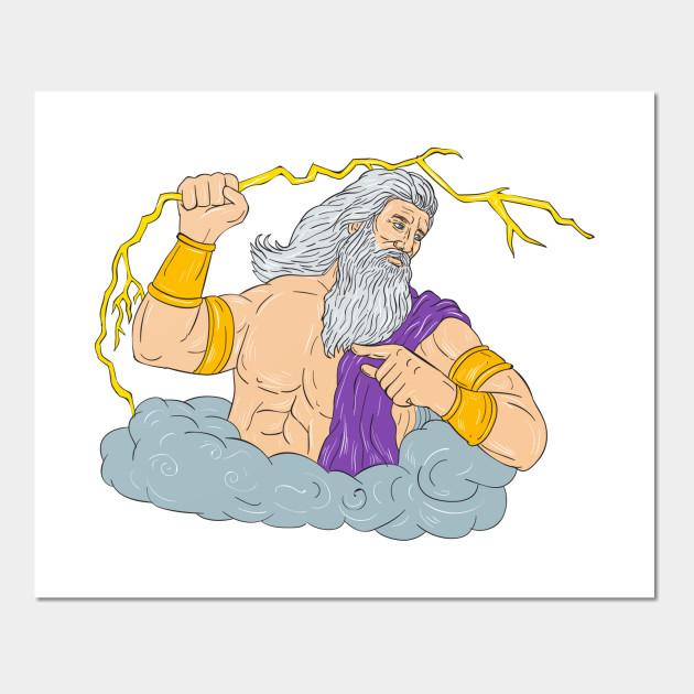 Zeus Wielding Thunderbolt Lightning Drawing - Zeus Wielding ...