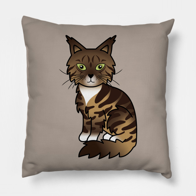 Brown And White Classic Tabby Maine Coon Cat Cute Cartoon Illustration