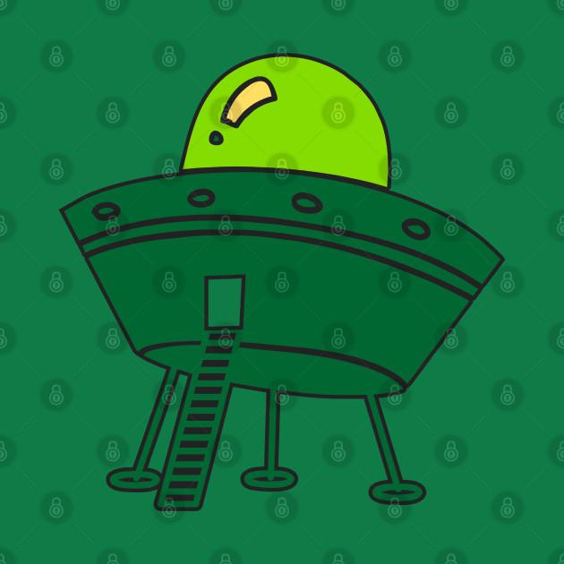 Ufo Aliens - Ufo Saucer T-Shirt - green aliens vehicle
