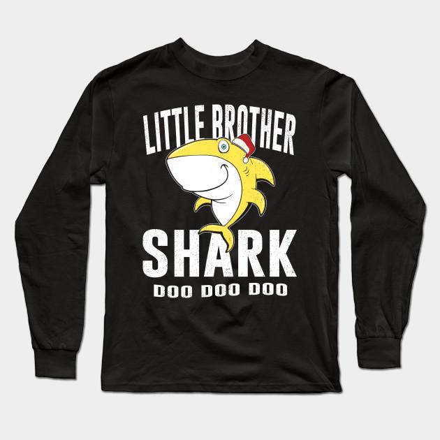 Little Brother Shark TShirt Birthday Thanksgiving Christmas Long Sleeve T Shirt