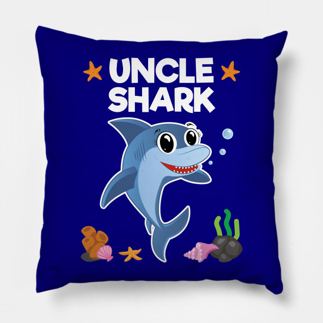 Uncle Shark Birthday Gift Pillow