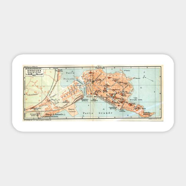 Vintage Map Of Syracuse Italy 1905 Syracuse Italy Sticker