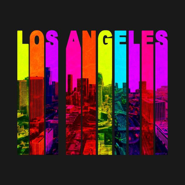 Retro Los Angeles California Cityscape Skyline