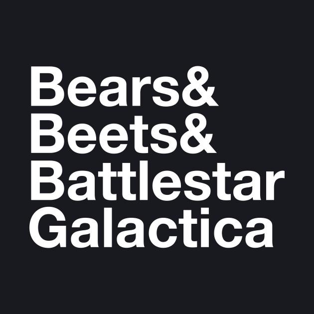 Bears. Beets. Battlestar Galactica.