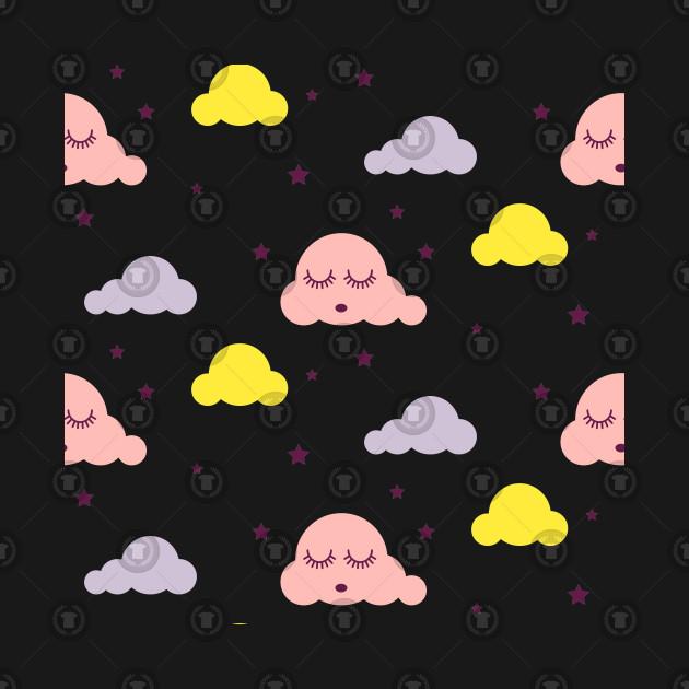 Cartoon Style Pink Clouds Sleepy