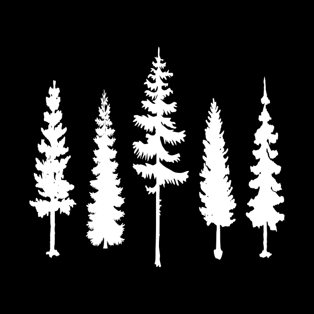 Pine trees silhouettes
