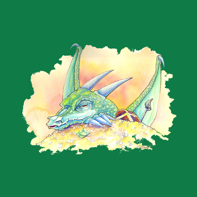 Tranquil Green Dragon (Watercolor)
