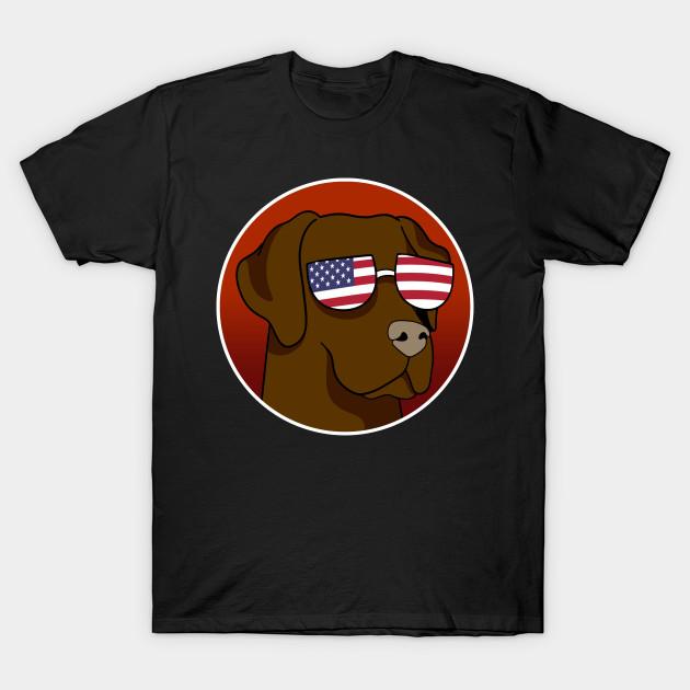 Chocolate Labrador Retriever Patriotic Flag