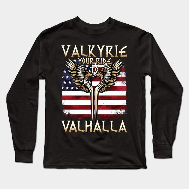 Valkyrie Your Ride To Valhalla Usa T Shirt Muninn Long Sleeve T Shirt Teepublic Au
