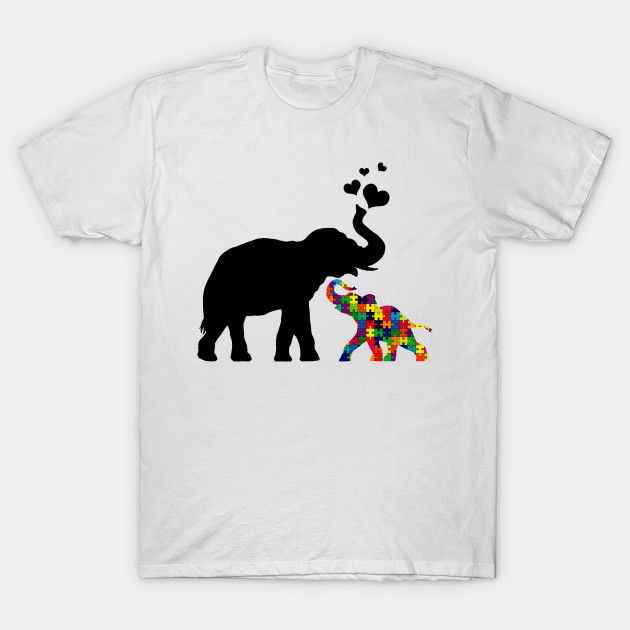 f25b589ee656 Elephant with baby autism - Autism Baby Elephant And Mama - T-Shirt ...