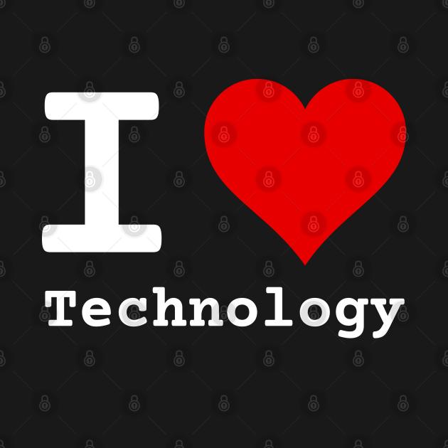 I Love Technology | Stylized Heart Logo White