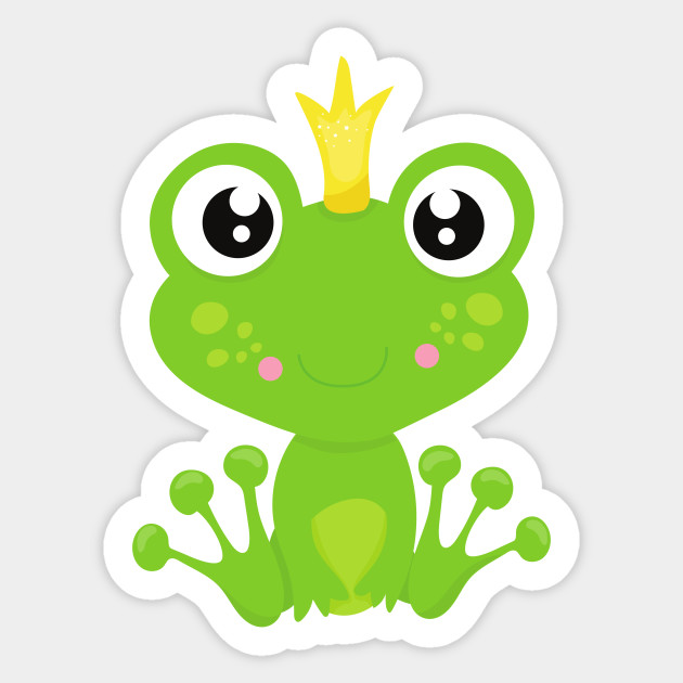 Frog Prince, Green Frog, Frog With A Crown - Frog Prince - Sticker ...