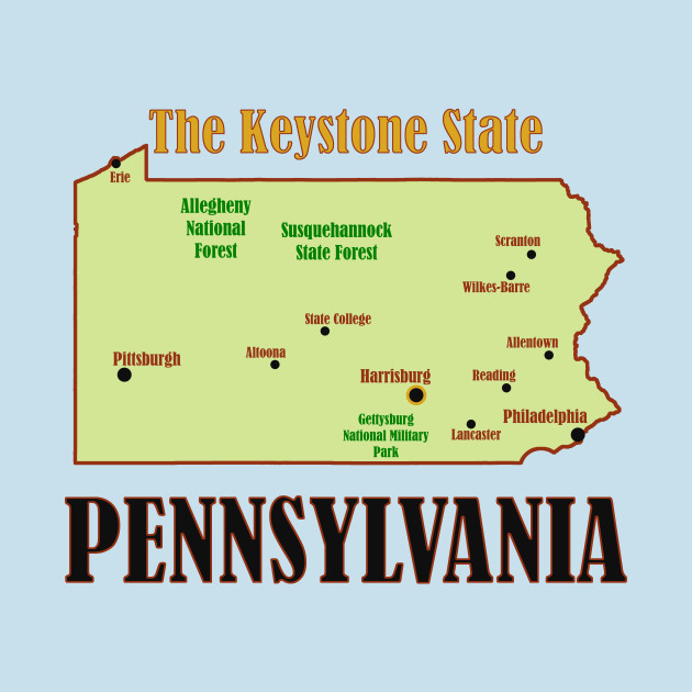 Pennsylvania State Map Pennsylvania T Shirt Teepublic