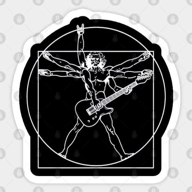 Vitruvian Guitarist Mens Funny Guitar Hoodie Electric Bass Acoustic Amp Player