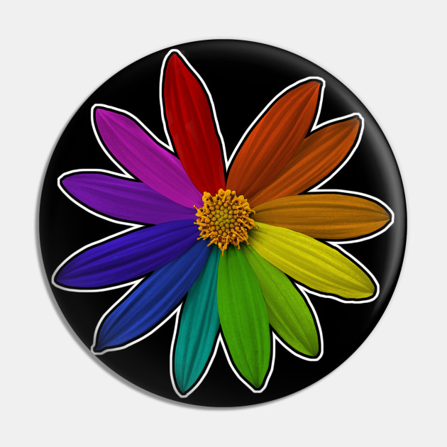 Flower Color Wheel Rainbow Color Pin Teepublic
