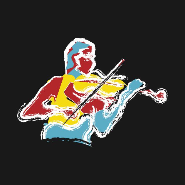 The Violin Player Brush Stroke Style