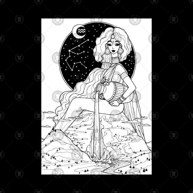 Indian Aquarius In Black Design