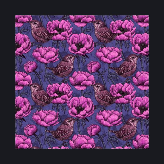 Wrens in the anemone garden