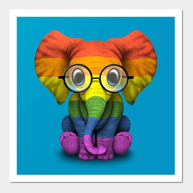 b39a3754c Baby Elephant with Glasses and Gay Pride Rainbow Flag Posters and Art Prints