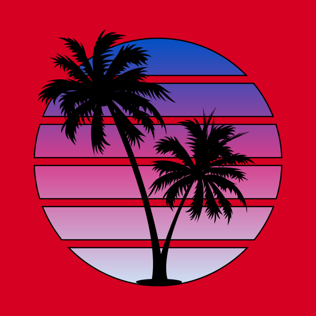 Synthwave style sunset