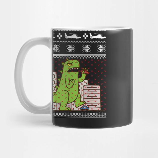Godzilla Ugly Christmas Sweater Godzilla Mug Teepublic