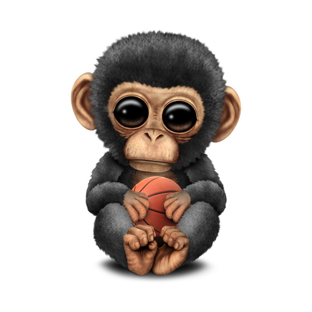 Cute Baby Chimp Playing With Basketball