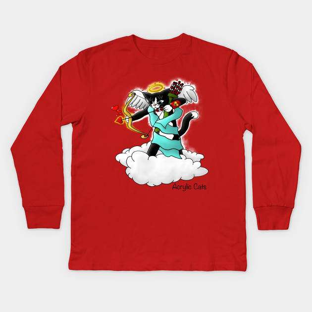 Valentine S Day Tuxedo Cupid Cat Valentines Day Kids Long Sleeve