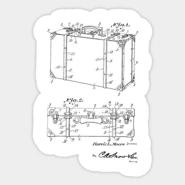 Suitcase Vintage Patent Hand Drawing