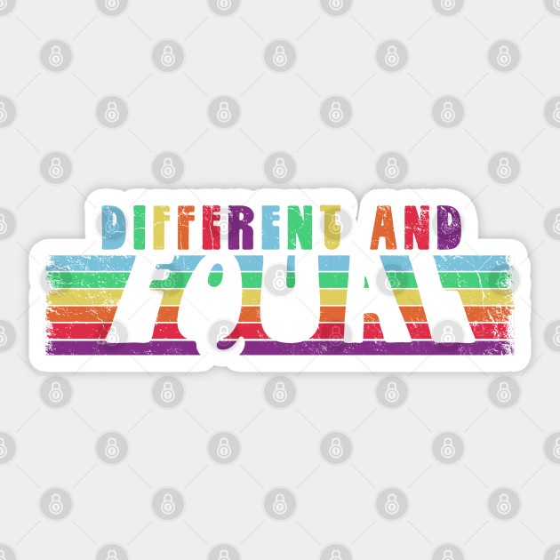 DIFFERENT AND EQUAL Retro Rainbow Stripes Equality