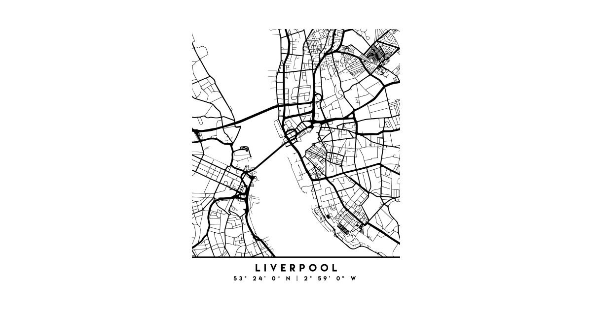 LIVERPOOL ENGLAND BLACK CITY STREET MAP ART by deificusart