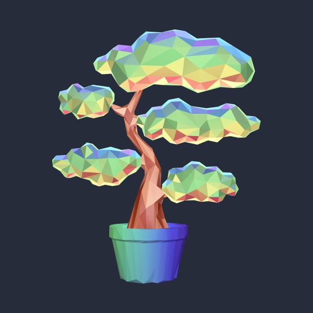 Low Poly Rainbow Bonsai Tree