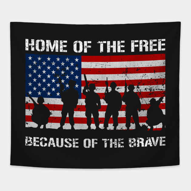 Home Of The Free US Veterans Day Tshirt Tapestry