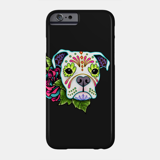 Boxer In White Day Of The Dead Sugar Skull Dog Boxer Dog Phone