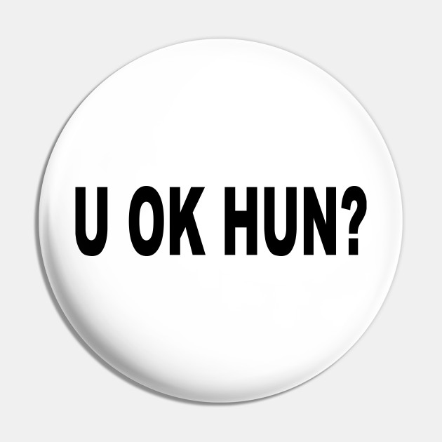 LOVE /'U Ok Hun?/' Slogan Boyfriend Roll Sleeve Tshirt