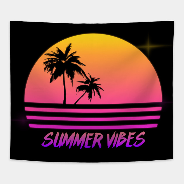 5dbf83454274 Summer Vibes - Retro Synth Sunset Style - Summer - Tapestry