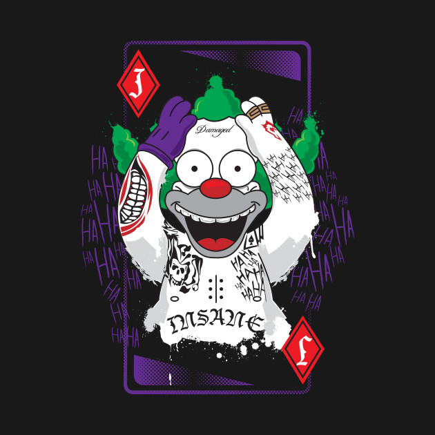 Krusty the joker crazy t shirt teepublic for Home by johker design