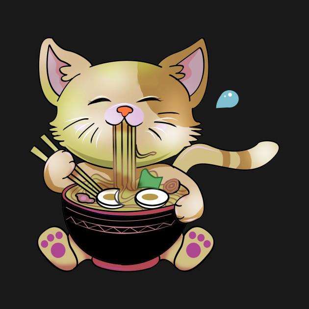 Cute Chibi Anime Manga Cat Ramen Lover