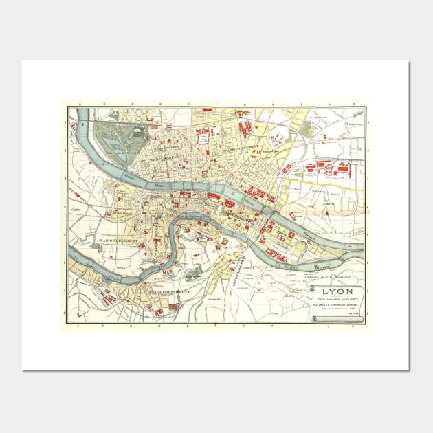 Map Of Uk 1900.Vintage Map Of Lyon France 1900