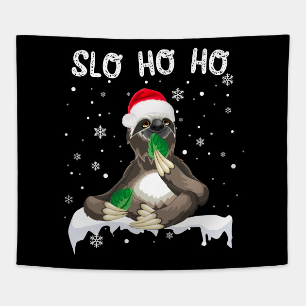 Christmas Sloth.Slo Ho Ho Christmas Sloth With Santa Hat