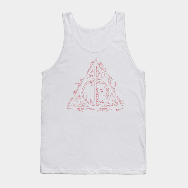 40c98e34574a4 Harry Potter - Deathly hallows - brenches and prongs (red outline  silhouette) - elder ...