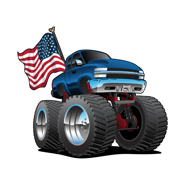 Monster Pickup Truck With Usa Flag Cartoon Pickup Tapestry Teepublic