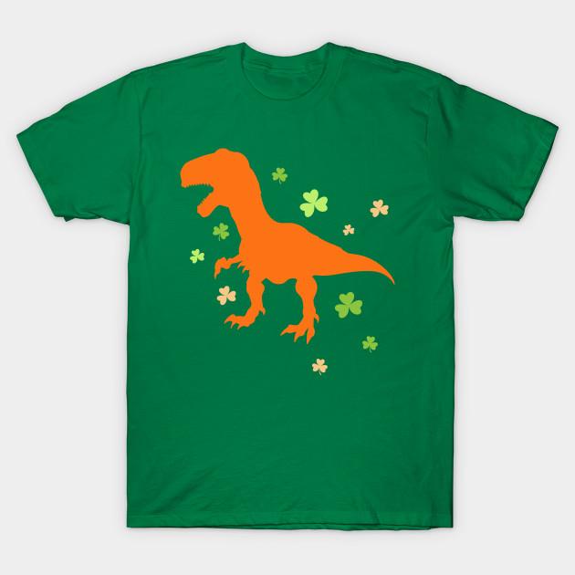 6099140439 Lucky Orange Dinosaur St Patrick's Day Clover Cute T-Shirt - St ...