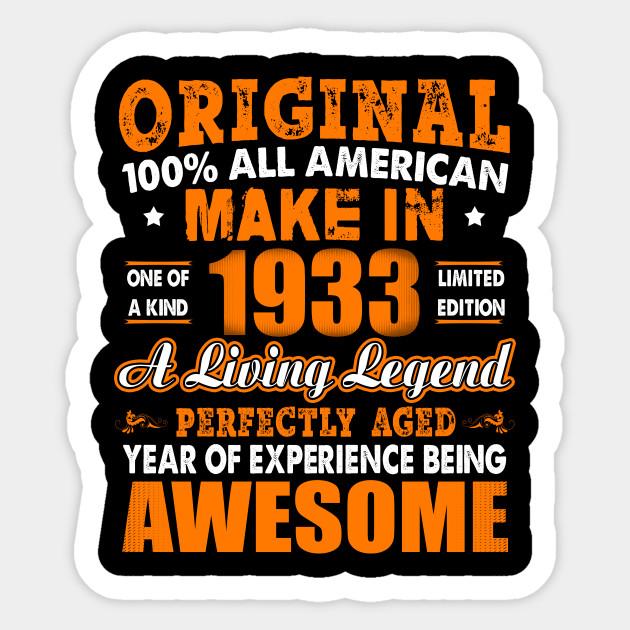 Made In 1933 85th Birthday Years Original Vintage Sticker