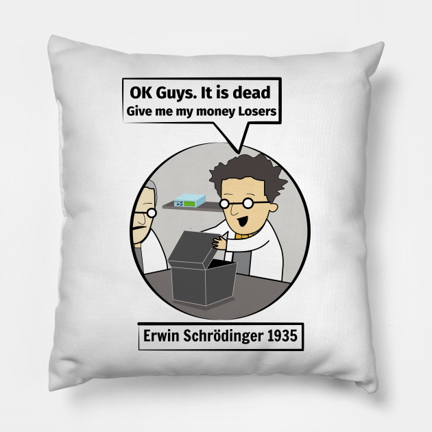 eb80e03d8 Schrodinger's cat. Funny Science illustration of Schrodinger experiment T- shirt Pillow