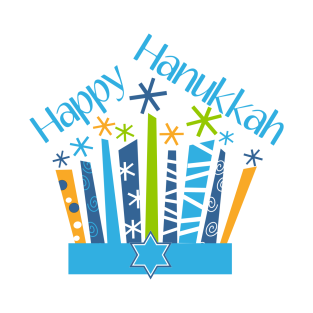 Happy Hanukkah Candles in Blue and Gold t-shirts