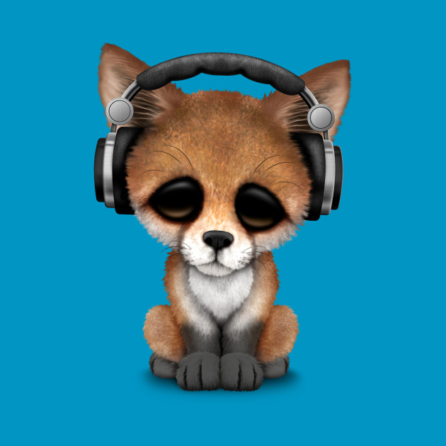 Cute Red Fox Cub Dj Wearing Headphones