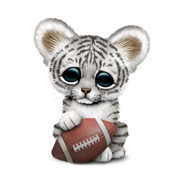 White Tiger Cub Playing With Football